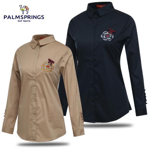 [팜스프링스] 체크 플라워 자수 여성 단추포인트 긴팔 셔츠/골프웨어_242065