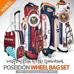 [2018년신제품]POSIDON 포세이돈 PU원단 여성용 바퀴달린 캐디백+핸드케리어 보스톤백세트(PD0818)