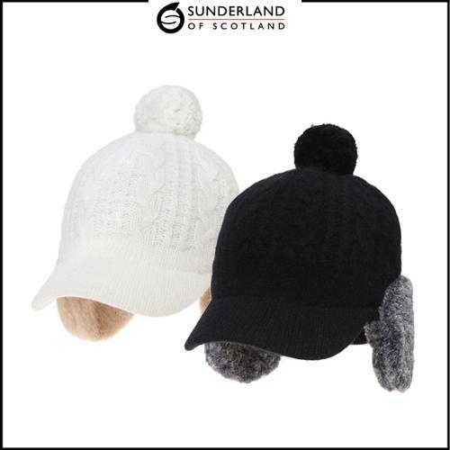선덜랜드 여성 겨울 방한 니트 퍼 방울 귀마개모자 - 16842CP32