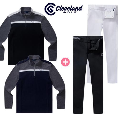 [클리브랜드골프] 남성 컬러블럭 기모 긴팔티셔츠 + 엑퍼트 기모본딩 골프바지/골프웨어_CG102507