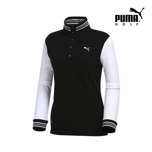 [푸마골프] 여성 니트 넥 포인트 긴팔 티셔츠 898538-01_GA