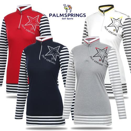 [팜스프링스] 우븐 패치 하이넥 스판 여성 긴팔티셔츠/골프웨어_242212