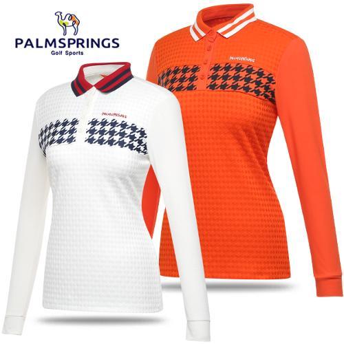 [팜스프링스] 중앙 하운드투스 패턴 스판 여성 긴팔티셔츠/골프웨어_242207