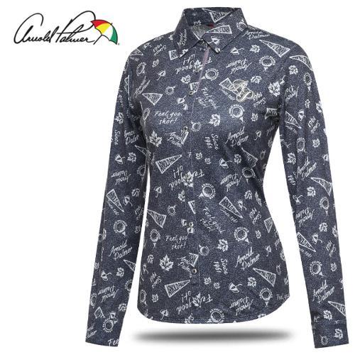 [아놀드파마] 일러스트 배색 여성 카라넥 셔츠형 긴팔티셔츠/골프웨어_242423