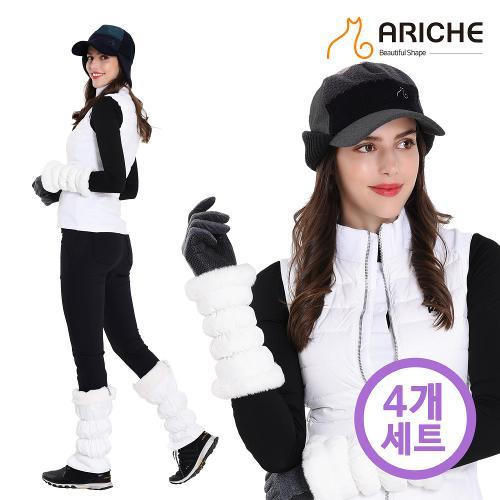 [아리체]여성 니트귀덮개 패턴캡+퍼팔토시+퍼발토시+폴리손목장갑 4종세트