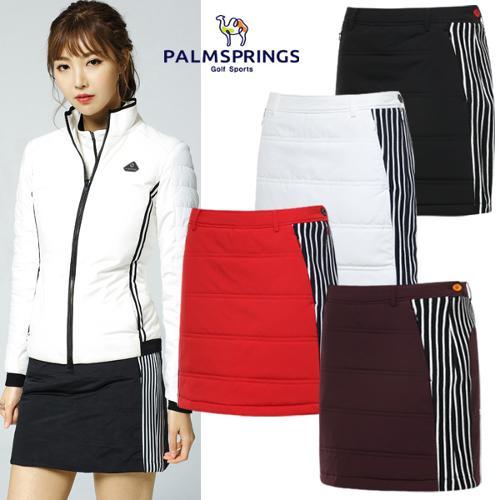 [팜스프링스] 가로퀼팅 사이드 배색 줄무늬 여성 패딩 골프 큐롯/골프웨어_242611