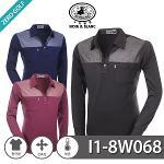[NOIR&BLANC] 누아앤블랑 투톤 배색 기모 PK티셔츠 Model No_I1-8W068