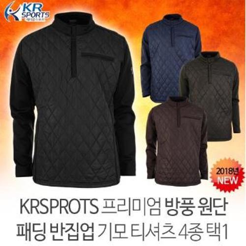 [오특] [KRSPORTS] 프리미엄 방풍원단 패딩반집업 스판 기모티셔츠