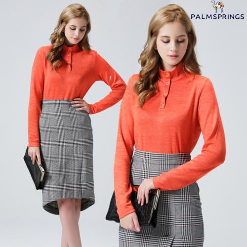 [팜스프링스]여성 하이넥 스냅 티셔츠 오렌지