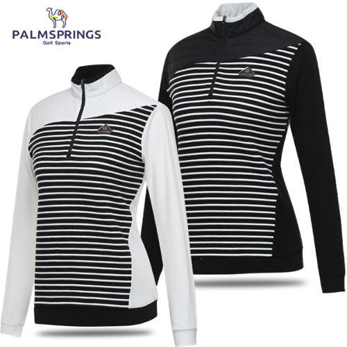[팜스프링스] 퀼팅 패딩패치 줄무늬 여성 반집업 긴팔티셔츠/골프웨어_242797