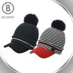 보그너 BOGNER 여성 겨울 방한 모직 스트라이프 니트 골프모자/비니 - BN-01-184-214-02