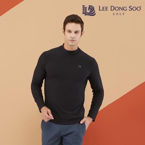 [이동수] 남성 기모 하이넥 티셔츠 블랙