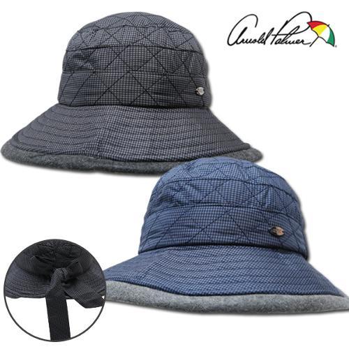 [아놀드파마] 퀼팅 패딩 리본 디테일 여성 귀달이 방한 모자/골프모자_ALX8AP35
