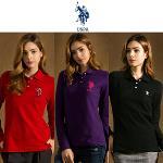 [USPA] 순면 로고자수 여성 카라넥 긴팔티셔츠 3종 택1/골프웨어_243015