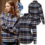 [USPA] 순면 체크배색 옥스포드 여성 카라넥 긴팔 셔츠/골프웨어_243009