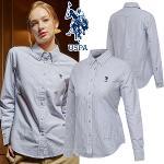 [USPA] 순면 스트라이프 옥스포드 여성 카라넥 긴팔 셔츠/골프웨어_243008