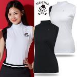 [세바스찬골프] 소매 배색 매쉬 여성 하프넥 민소매 티셔츠/골프웨어_243288