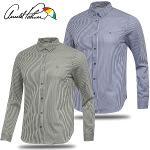[아놀드파마] 면폴리 세로 스트라이프 남성 카라넥 긴팔 셔츠/골프웨어_AMS8WS53