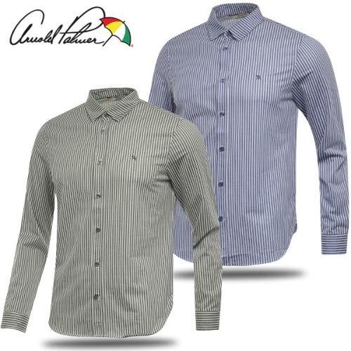 [아놀드파마] 면폴리 세로 스트라이프 남성 카라넥 긴팔 셔츠/골프웨어_243204