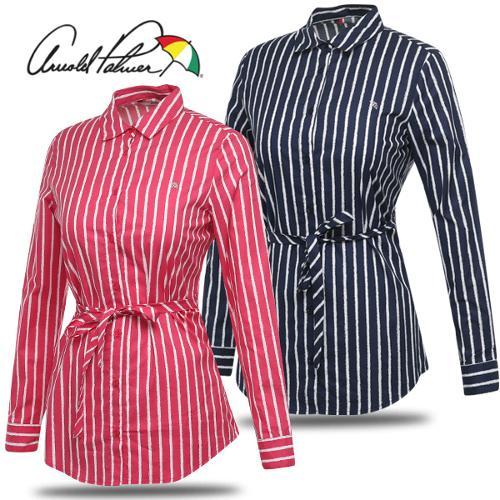 [아놀드파마] 세로 스트라이프 허리끈 여성 롱 셔츠/골프웨어_243152