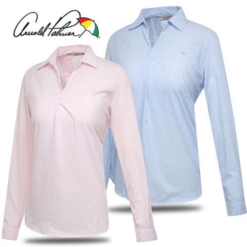 [아놀드파마] 주름원단 스트라이프 여성 오픈카라 긴팔 셔츠/골프웨어_243151