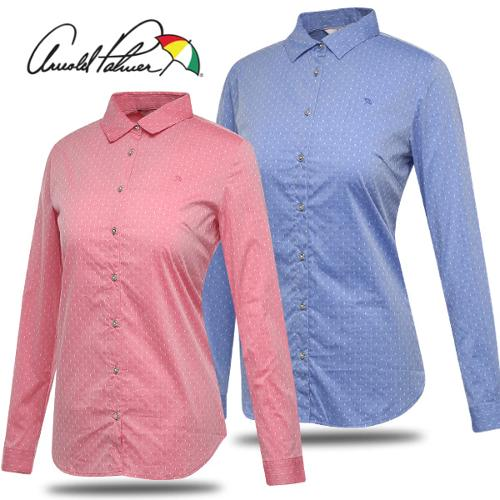 [아놀드파마] 면스판 배색 도트 여성 카라넥 긴팔 셔츠/남방/골프웨어_243150