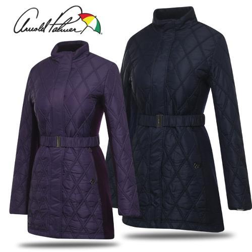 [아놀드파마] 꽈베기 퀼팅 니트 패치 여성 바람막이 패딩 자켓/골프웨어_243124