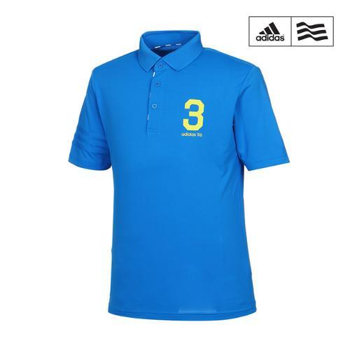 [아디다스골프] 남성 레터링 배색 카라반팔 티셔츠 B87163_GA