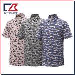 커터앤벅 남성 면소재 프린팅 패턴포인트 카라 반팔티셔츠 - PB-12-182-101-52