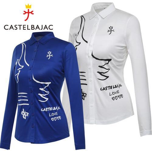 [까스텔바작] 소프트터치 여성 풀오픈 셔츠형 긴팔 티셔츠/골프웨어_243557