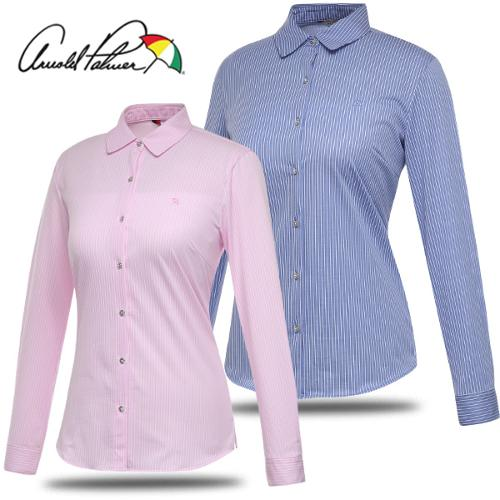 [아놀드파마] 면혼방 세로 스트라이프 여성 긴팔 셔츠/남방/골프웨어_243185