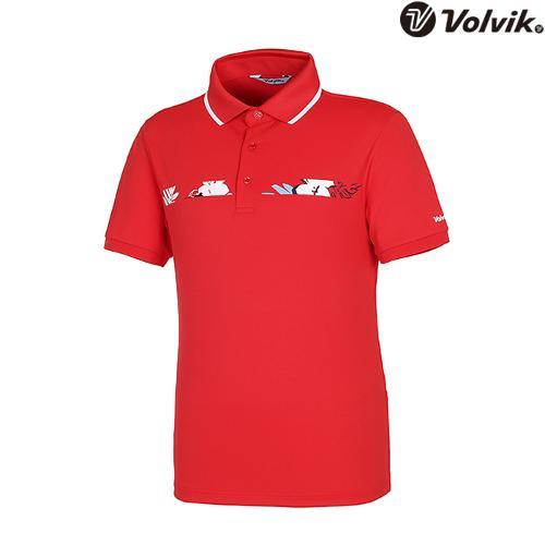 [볼빅브이닷] 남성 트로피컬 패턴 포인트 티셔츠 VMTSH601_RE