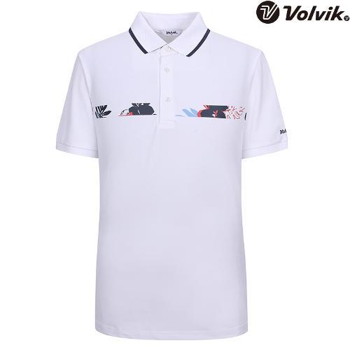 [볼빅브이닷] 남성 트로피컬 패턴 포인트 티셔츠 VMTSH601_WH