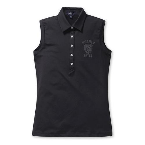 [파리게이츠]여성 로고 배색 민소매 카라 티셔츠 52292TS953_BK