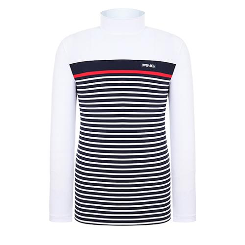 [핑]남성 컬러 블록 스트라이프 긴팔 티셔츠 11291TI908_WH
