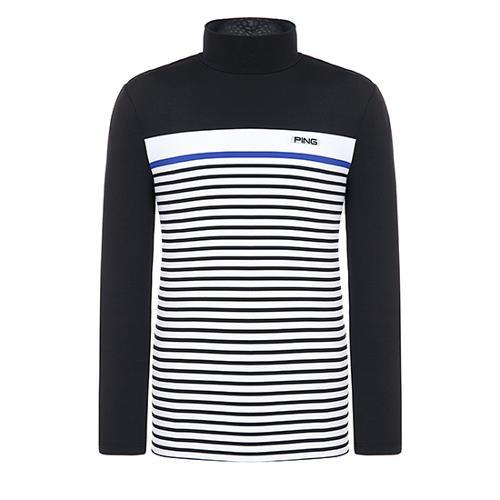 [핑]남성 컬러 블록 스트라이프 긴팔 티셔츠 11291TI908_BK
