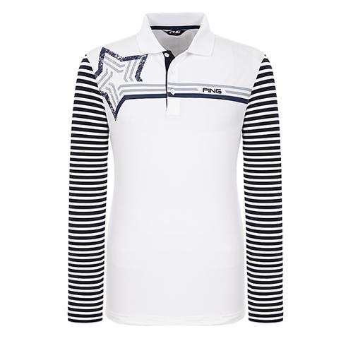 [핑]남성 스트라이프 소매 카라 티셔츠 11291TO916_WH