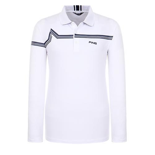 [핑]남성 라인 배색 카라 티셔츠 11291TO913_WH