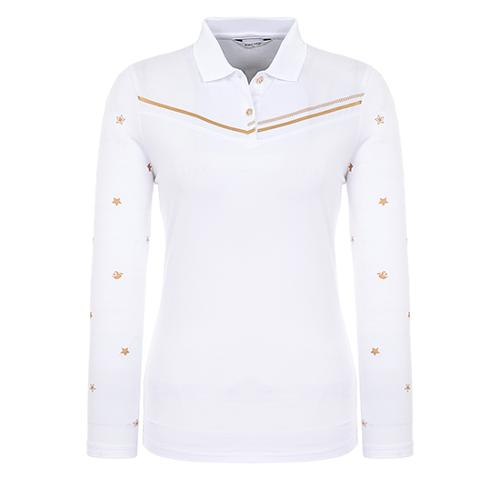 [핑]여성 별 프린트 소매 카라 티셔츠 12291TO971_WH
