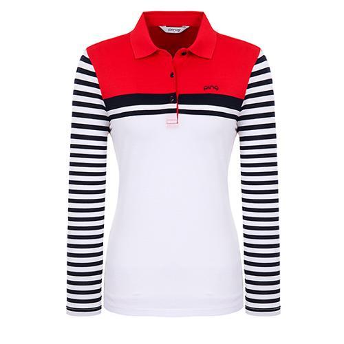 [핑]여성 스트라이프 소매 컬러 블록 티셔츠 12291TO972_RE