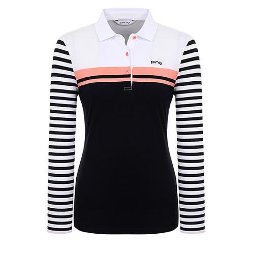 [핑]여성 스트라이프 소매 컬러 블록 티셔츠 12291TO972_WH