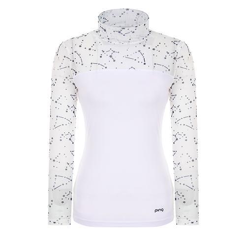 [핑]여성 별 프린트 메쉬 배색 이너 티셔츠 12291TI961_WH