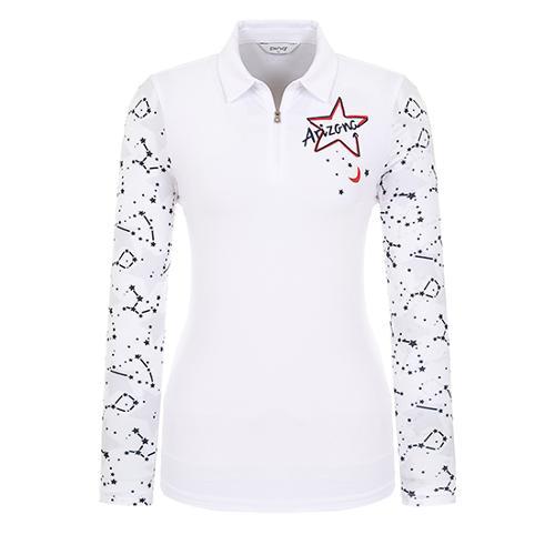 [핑]여성 냉감 프린트 소매 반집업 티셔츠 12291TO967_WH