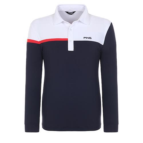 [핑]남성 컬러블럭 긴팔 카라 티셔츠 11181TO005_NA