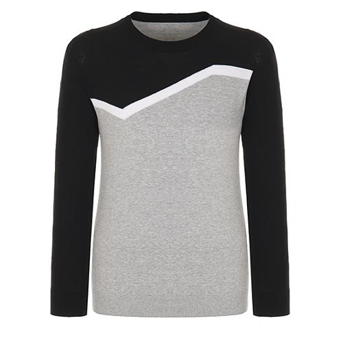 [핑]남성 컬러 블록 코튼 크루넥 스웨터 11181SR121_BK