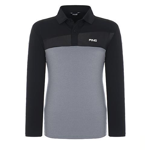 [핑]남성 메쉬 믹스 컬러 블록 긴팔 티셔츠 11181TO013_BK