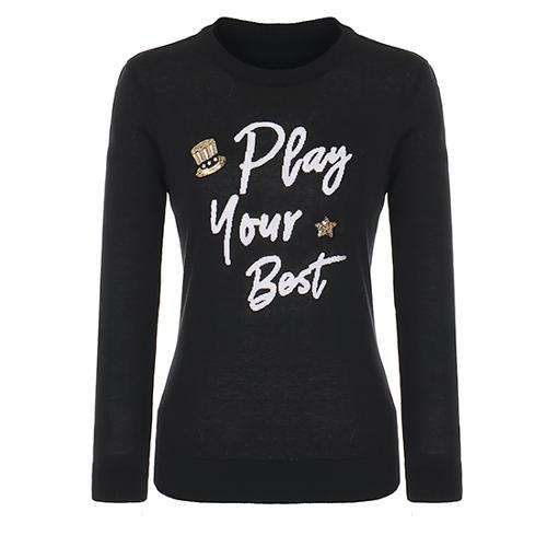 [핑]여성 자카드 레터링 라운드넥 스웨터 12281SR961_BK