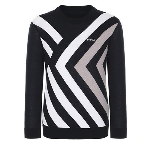 [핑]남성 지오메트릭 패턴 코튼 스웨터 11281SR901_BK