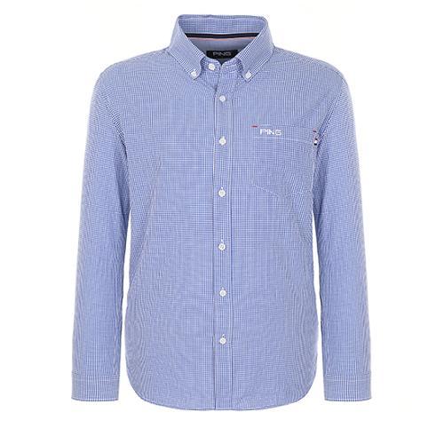 [핑]남성 깅엄체크 버튼다운 셔츠 11181JS503_BL
