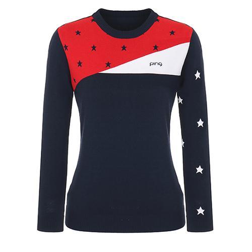 [핑]여성 별 패턴 배색 라운드넥 스웨터 12281SR962_NA
